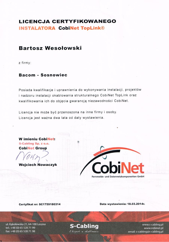 Certyfikat CobiNet ToLink