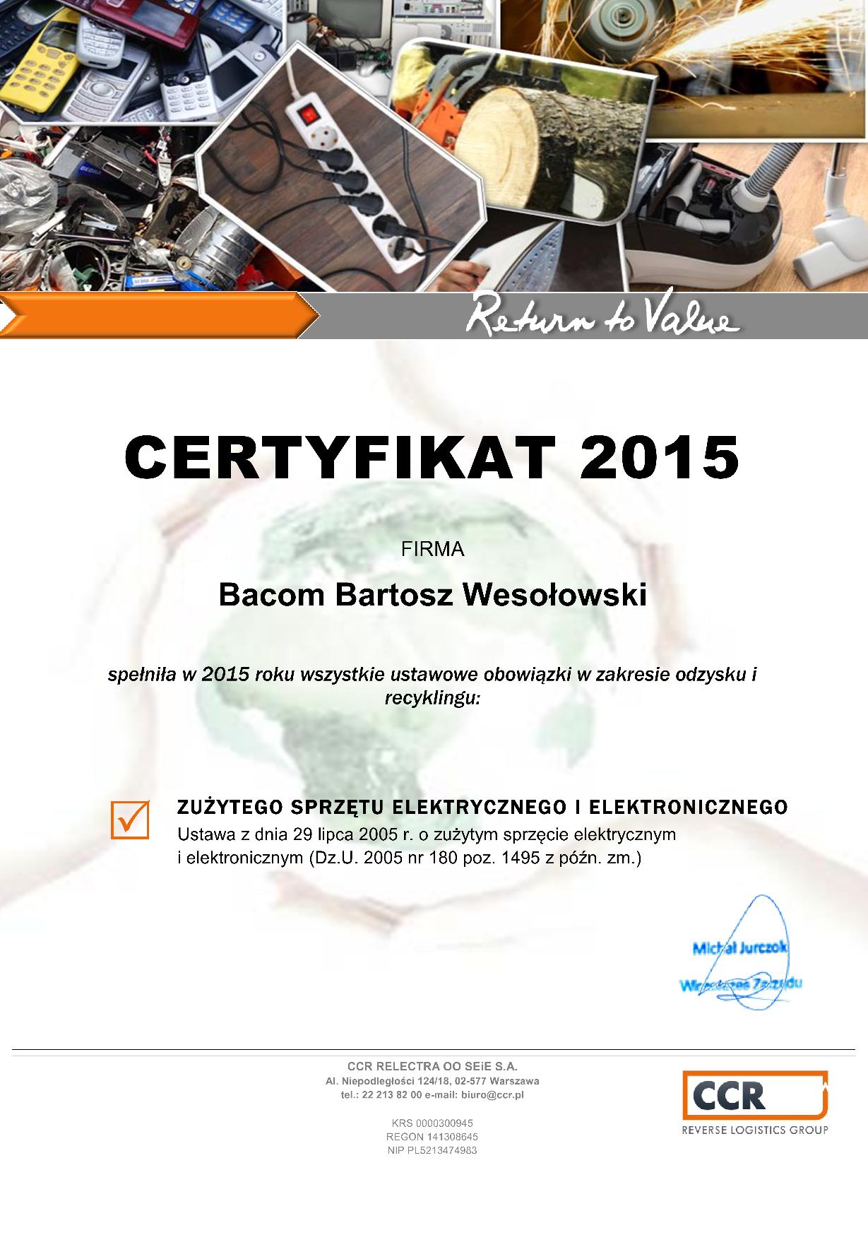 Certyfikat - frima przyjazna środowisku