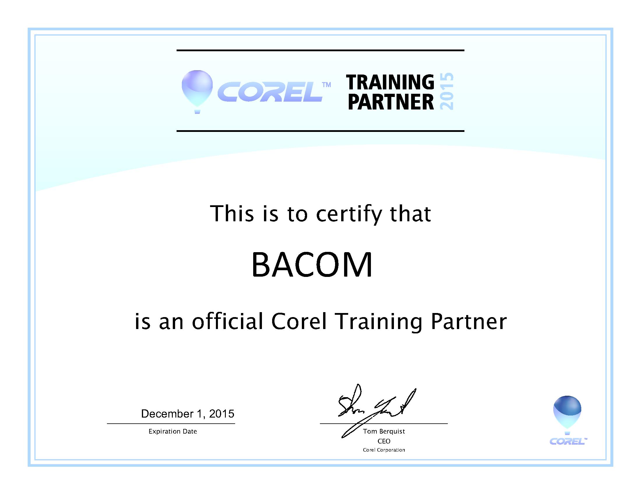 Official Corel Training Partner